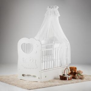 Детская кроватка  Слоненок маятник поперечный с ящиком Островок уюта