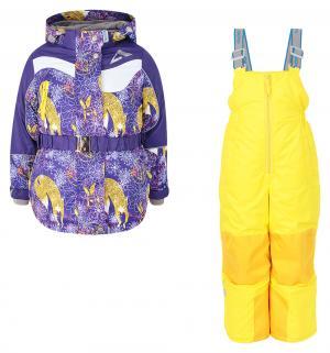Комплект куртка/полукомбинезон  Алиса, цвет: желтый/фиолетовый Oldos