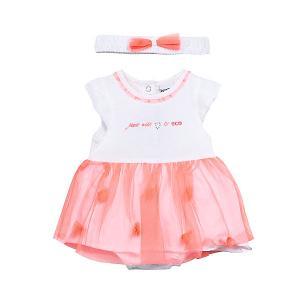 Комплект: платье,боди  для девочки 3 Pommes. Цвет: розовый