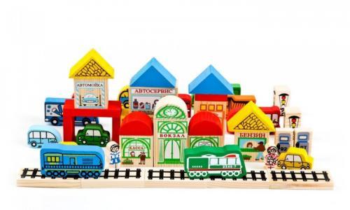 Деревянная игрушка  Конструктор Транспорт 45 деталей Томик