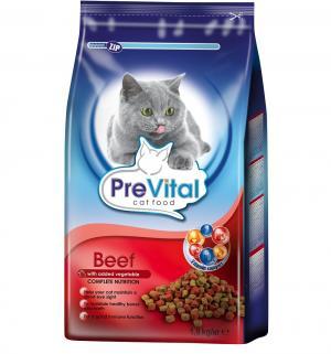 Сухой корм  для взрослых кошек, говядина/овощи, 1.8кг Prevital