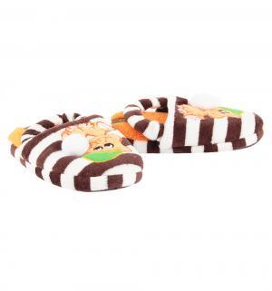 Тапочки , цвет: коричневый/белый Tingo