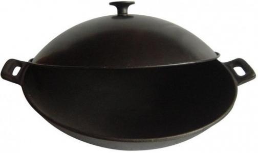 Сковорода Вок чугунная с металлической крышкой 31 см Mallony
