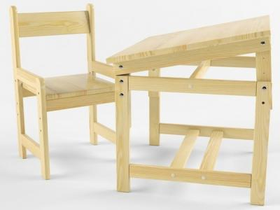 Растущий набор (стол-парта, стул) деревянный не окрашен Русские игрушки
