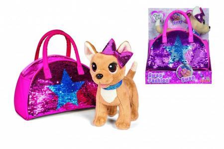 Интерактивная игрушка  Плюшевая собачка Блестящая мода с сумочкой, 20 см Chi-Chi Love