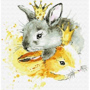 Картина по номерам Королевские зайцы 30х30 см Molly