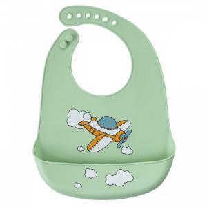 Нагрудник  силиконовый с кармашком Самолет Baby Nice (ОТК)