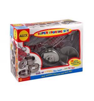 Игровой набор посуды  Супер кулинар из нержавеющей стали Alex