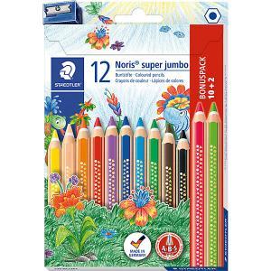 Набор цветных карандашей  «Noris Club Super Jumbo», 12 цветов + точилка Staedtler