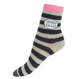 Носки  Полоска, цвет: серый/розовый Crockid