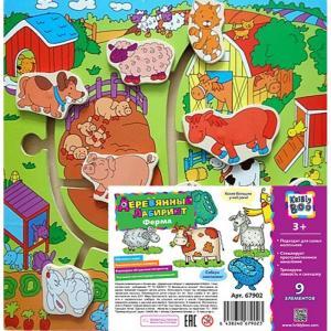 Деревянная игрушка  Игра с дорожками Путешествие по ферме 9 элементов Kribly Boo