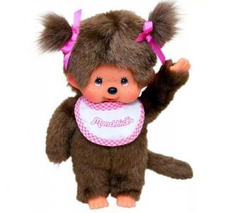 Мягкая игрушка  Девочка в слюнявчике 20 см Monchhichi