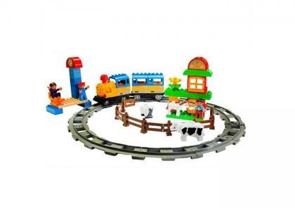 Железная дорога Конструктор с паровозиком и вагончиком 162 см 87149 Голубая стрела