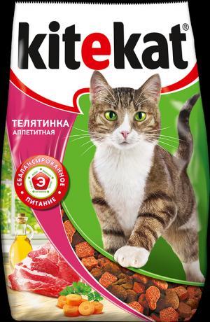 Сухой корм  Телятинка аппетитная для взрослых кошек, телятина, 1.9кг Kitekat