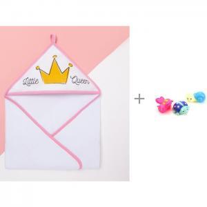 Полотенце Little queen 75х75 см и игрушки для ванной Насекомые 3 шт. Играем вместе Крошка Я