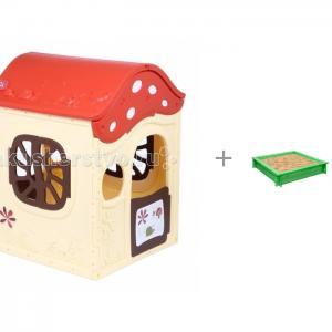 Игровой домик Ching-Ching Грибок-теремок и песочница деревянная Paremo Клио BabyOne