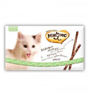 Лакомство  Лакомые палочки для взрослых кошек 13.5 см с уткой и кроликом 10х5 г, утка кролик, 10x5г Мнямс