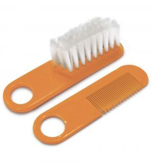 Набор  для причесок и массажа щетка+расческа, цвет: оранжевый Сказка