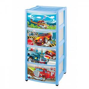 Комод детский на колесах с выдвижными ящиками и аппликацией 4 ящика Пластишка