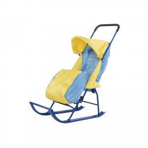 Санки-коляска  1, Galaxy, желтый/голубой Малышок. Цвет: blau/gelb