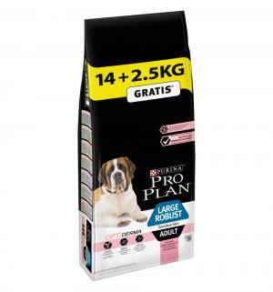 Сухой корм  Optiderma Large Robust Sensitive Skin для взрослых собак крупных пород мощного телосложения с чувствительной кожей, лосось/рис, 14кг+2.5кг бесплатно Pro Plan