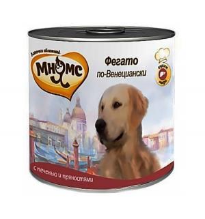Влажный корм  для взрослых собак, фегато по-венециански (телячья печень/пряности), 600г Мнямс
