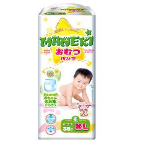 Трусики-подгузники  детские одноразовые, р. 4+, 12+ кг, 38 шт Maneki