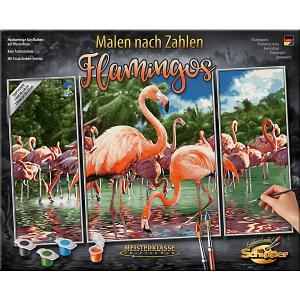 Картина по номерам  Триптих: Фламинго, 50х80 см Schipper. Цвет: разноцветный