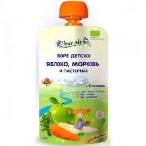 Пюре  Organic яблоко-морковь-пастернак с 6 месяцев, 120 г Fleur Alpine