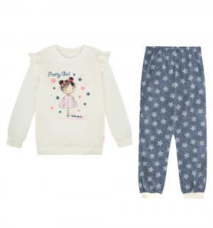 Пижама джемпер/брюки  Preety girl, цвет: бежевый/синий Cornette