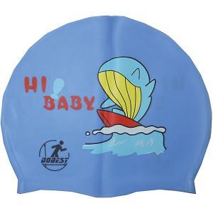Силиконовая шапочка для плавания , с рисунком, голубая Dobest