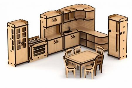 Конструктор Набор кукольной мебели Кухня для домика Венеция (103 детали) Lemmo