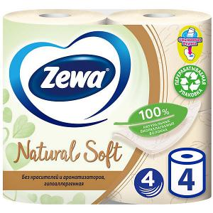 Туалетная бумага  Natural Soft, 4 слоя, рулона Zewa