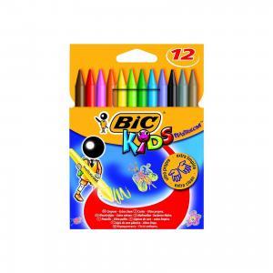 Мелки цветные восковые Пластидекор 12 цветов BIC