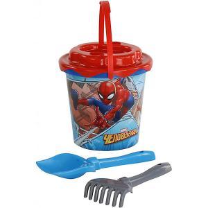 Набор Marvel «Человек-Паук» №11: ведро с наклейкой, ситечко Солнышко, лопатка №5, грабельки №5 Полесье. Цвет: разноцветный
