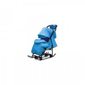 Санки-коляска Зимняя Сказка 3В + ВК , черная рама, голубой/зоопарк ABC Academy