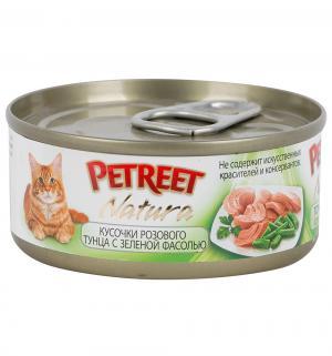 Влажный корм  для взрослых кошек, кусочки розового тунца/зеленая фасоль, 70г Petreet