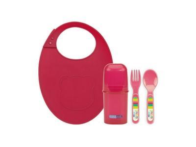 Набор столовых приборов  с силиконовым нагрудником полипропилен, цвет: розовый Bebe Due