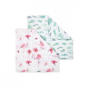 Пеленка  муслиновая Фламинго и листья 2 шт. Сонный гномик
