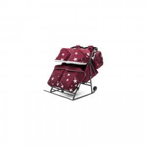 Санки-коляска для двойни ABC Аcademy Pikate Твин Звёзды на тёмно-серой раме, бордовый Academy. Цвет: бордовый