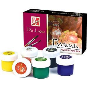 Гуашь Луч De Luxe художественная, 6 цветов. Цвет: розовый