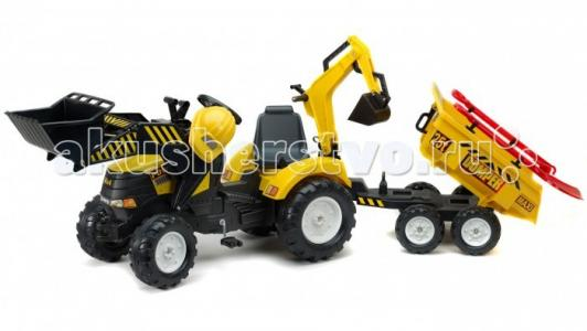 Трактор-экскаватор  педальный с прицепом 230 см Falk