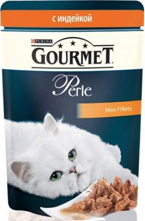 Корм влажный  Perle для взрослых кошек, индейка, 85г Gourmet