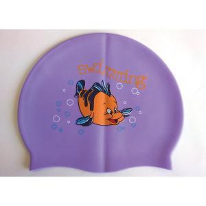 Силиконовая шапочка для плавания , с рисунком, фиолетовая Dobest
