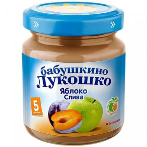 Пюре  яблоко-слива с 5 месяцев, 100 г Бабушкино лукошко