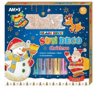 Набор витражных красок Новогодний № 2: 10 цветов, 12 витражей Amos