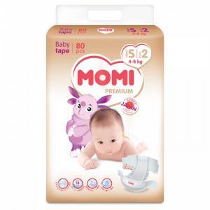 Premium подгузники S (4-8 кг) 80 шт Momi