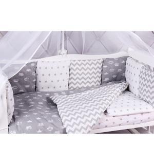 Бортик в кроватку  Royal Baby, цвет: белый/серый Amarobaby