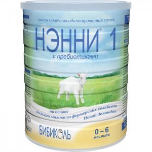Нэнни 1 Молочная смесь с пребиотиками на основе козьего молока рождения 800 г Бибиколь