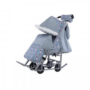 Санки-коляска Зимняя сказка 5М Люкс, серая рама, , серый/снежинки ABC Academy